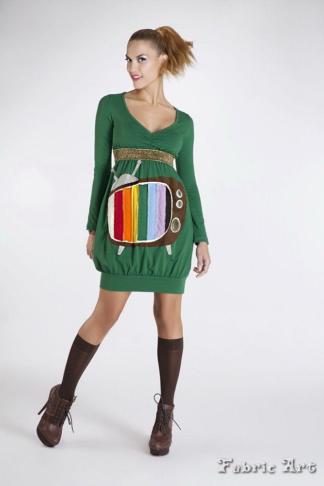 """Empire line V neck dress with handmade applique """"Retro TV""""."""