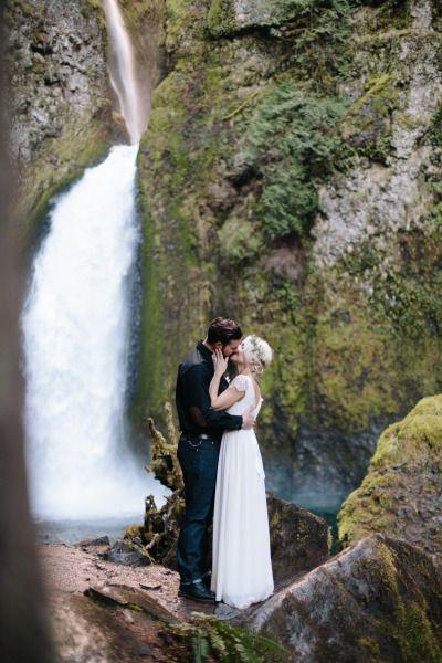 Intimate waterfall elopement: http://www.stylemepretty.com/oregon-weddings/portland/2015/05/14/intimate-portland-waterfall-elopement/ | Photography: Her & Everything - http://www.herandeverything.com/
