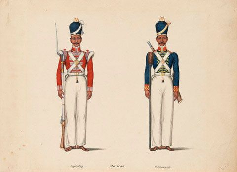 10th Madras Native Infantry and the Madras Artillery, c.1835. Watercolour by Company Artist- Tanjore