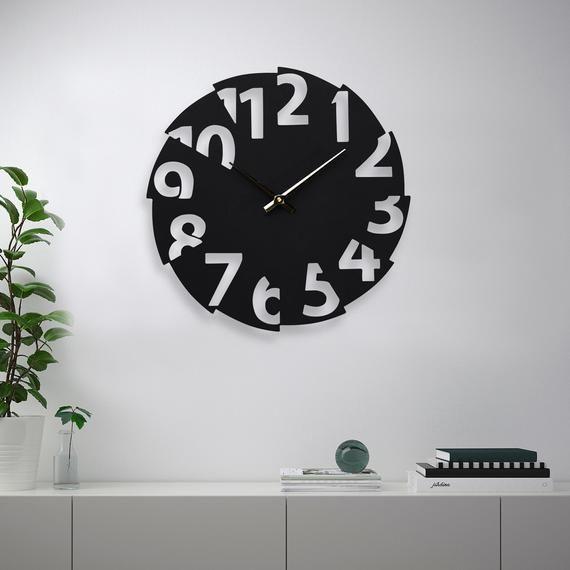 Unique Wall Clock Kitchen Wall Clock Round Wall Clock Black Etsy Rustic Wall Clocks Wall Clock Black Wall Clock