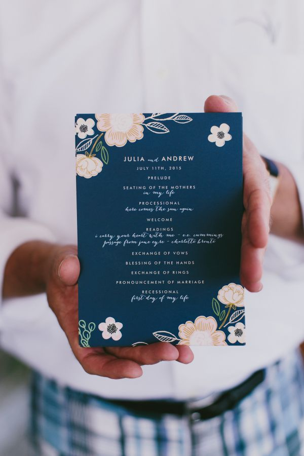 Floral + navy wedding invitations: http://www.stylemepretty.com/maine-weddings/cape-elizabeth-maine/2016/01/11/coastal-maine-summer-wedding-at-the-inn-by-the-sea/ | Photography: Emily Delamater - http://emilydelamater.com/