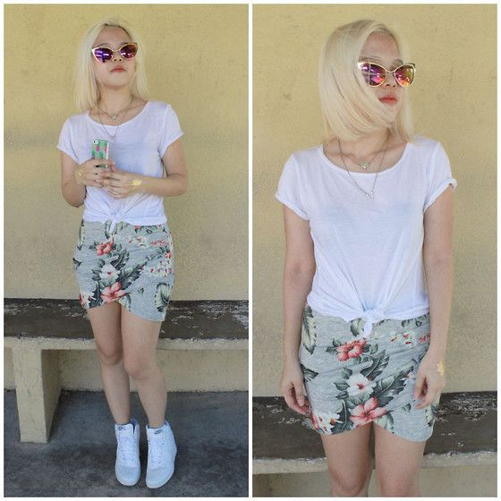 Wear It Vintage Gold Cat Eye Sunglasses, Mac Cosmetics Mac Sushi Kiss, Stradivarius White Shirt, Zara Floral Skirt, White Nike Sky Hi