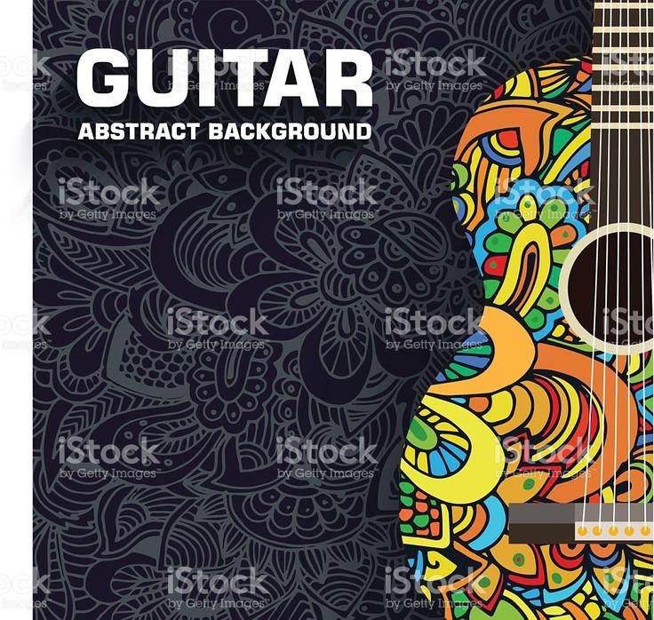 手描きのアート音楽のクラシックギターの概念を抽象的な背景のオーナメント ロイヤリティフリーのイラスト素材