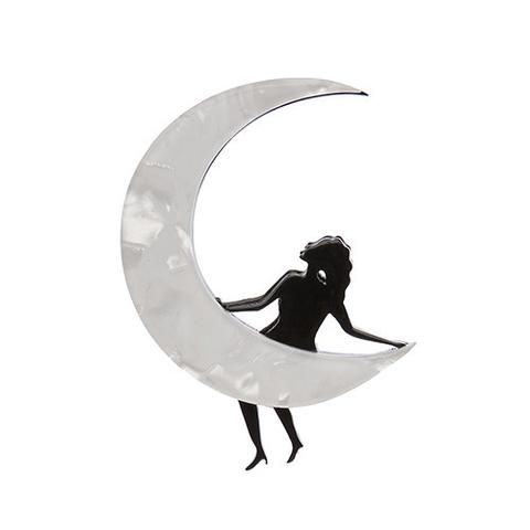 "Erstwilder Limited Edition Paper Moon Brooch. ""A dreamer is one who can only find their way by moonlight. We like to think that all Erstwildians are at least part dreamer."""