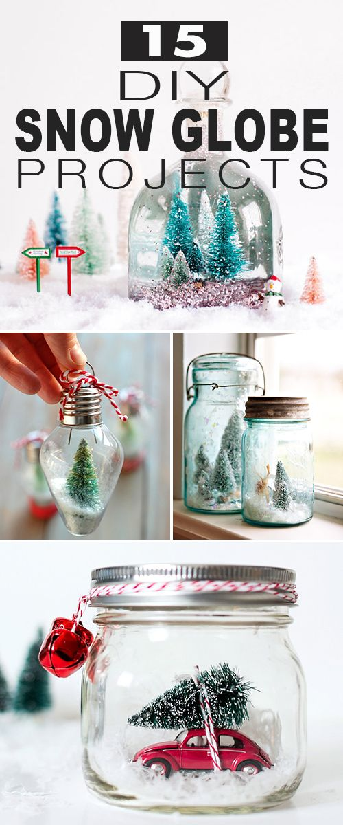 15 DIY Snow Globe Projects! • Click thru to see all kinds of snow globe ideas, projects and step by step tutorials. Both liquid and waterless types for you to check out. #DIY #DIYsnowglobes #snowglobes #christmas #holidaydecorating #christmassnowglobes #christmasdecor
