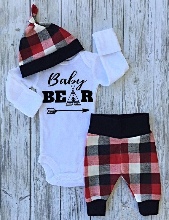Plaid baby boy coming home outfit baby girl by EatSleepDrool