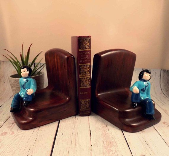 Ceramic Asian bookends Asian kids felt bottomkid by TheZenSquirrel