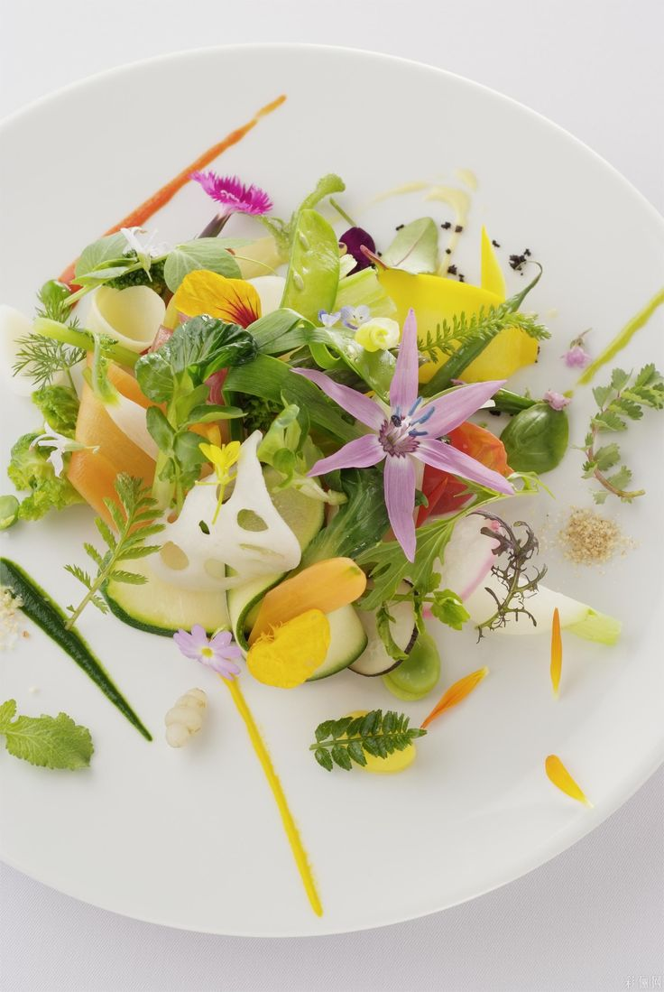 Prosciutto, Cheese, and veges and Flowers Image for inspiration only - Michel Bras