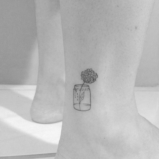 "coolTop Tiny Tattoo Idea - @brusimoes on Instagram: ""Small Hydrangea Jar • #blacktattoomag"" Check more at http://tattooviral.com/tattoo-designs/small-tattoos/tiny-tattoo-idea-brusimoes-on-instagram-small-hydrangea-jar-%e2%80%a2-blacktattoomag/"