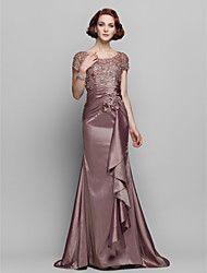 Lanting Bride® Trompette / Sirène Grande Taille / Petite Robe de Mère de Mariée - Transparent Traîne Brosse Manches CourtesDentelle /
