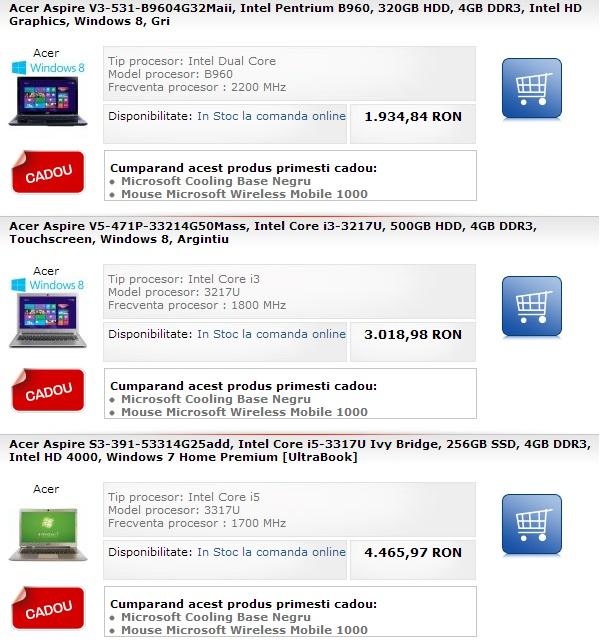Cumperi un laptop Acer si primesti cadou un mouse si un cooler Microsoft | Zgarciti.ro - Comunitatea Zgarcitilor din Romania
