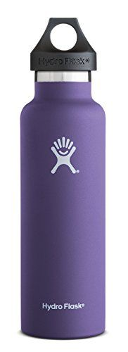 Hydro Flask 12 oz Vacuum Insulated Stainless Steel Water Bottle, Standard Mouth w/Loop Cap, Plum. For product & price info go to:  https://all4hiking.com/products/hydro-flask-12-oz-vacuum-insulated-stainless-steel-water-bottle-standard-mouth-wloop-cap-plum/