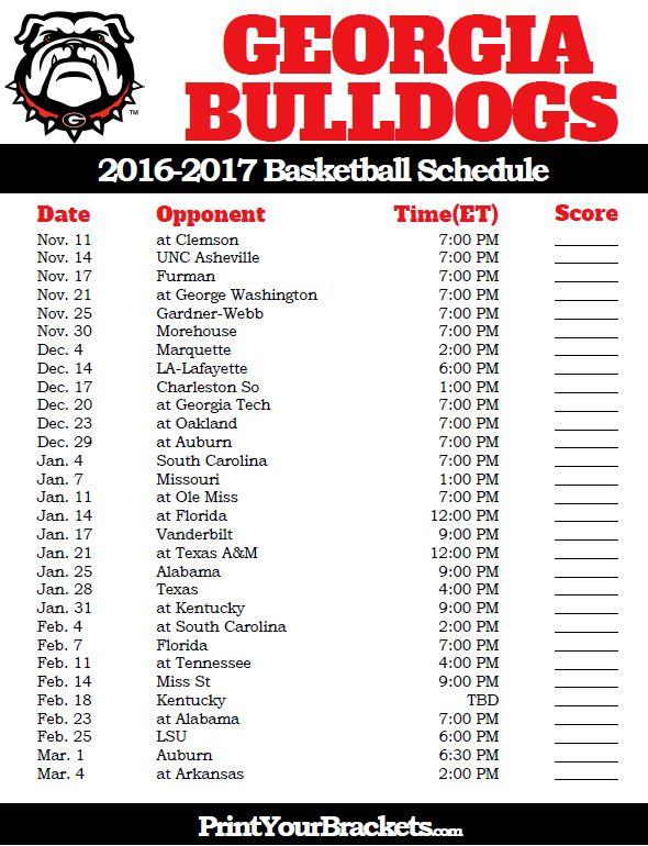 Georgia Bulldogs 2016-2017 College Basketball Schedule