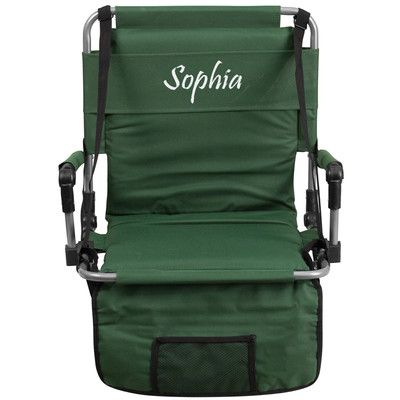 Flash Furniture Folding Stadium Chair Chair Color: Green, Thread Color: Floral Pink