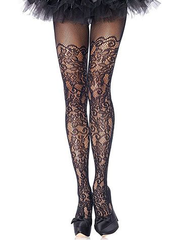 Baroque Lace Netted Pantyhose at PLASTICLAND