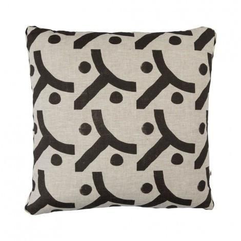 Seventies Cushion in Black | 50cm | Bonnie & Neil – Salt Living or online at www.saltliving.com.ay #saltliving #bonnieandneil #screenprinting #linen #handmade #cushion
