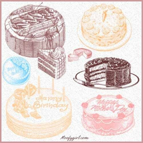 20 Delicious Dessert Cakes Photoshop Brushes Set by moofygirl, $2.99