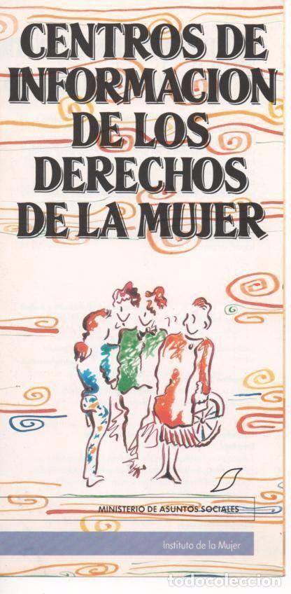 DÍPTICO CENTROS INFORMACIÓN DERECHOS DE LA MUJER INSTITUTO DE LA MUJER 1988 DISEÑO LOLA CALVO