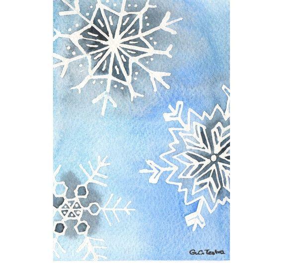 Original watercolor Christmas Card  Snowflakes by MilkFoam on Etsy, $10.00