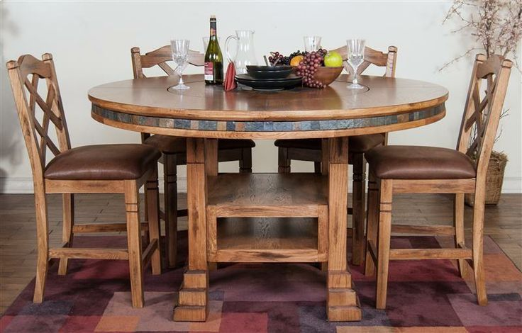 Built In Lazy Susan Elegant Dining With Slate Inlays And