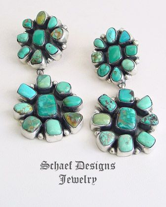 Ella Peters Carico Lake turquoise & sterling silver double cluster post Earrings | Schaef Designs | New Mexico