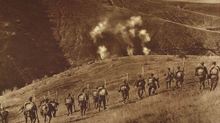 October 11, 1915 - Bulgaria Enters the Great War, Invades Serbia Pictured - Two Bulgarian armies crossed Serbia's eastern frontier on October 11. Here Bulgarian infantry can be seen advancing towards Serbian lines on the opposite hillside. Bulgaria...
