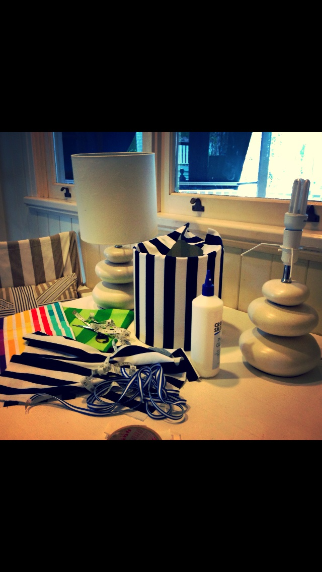 Working on new lamps for a client. Stripes of course!
