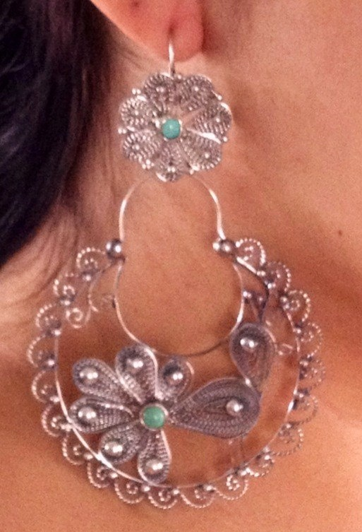 Peacock Mexican Hoop Arracada Earrings by PauletteAvila on Etsy, $345.00