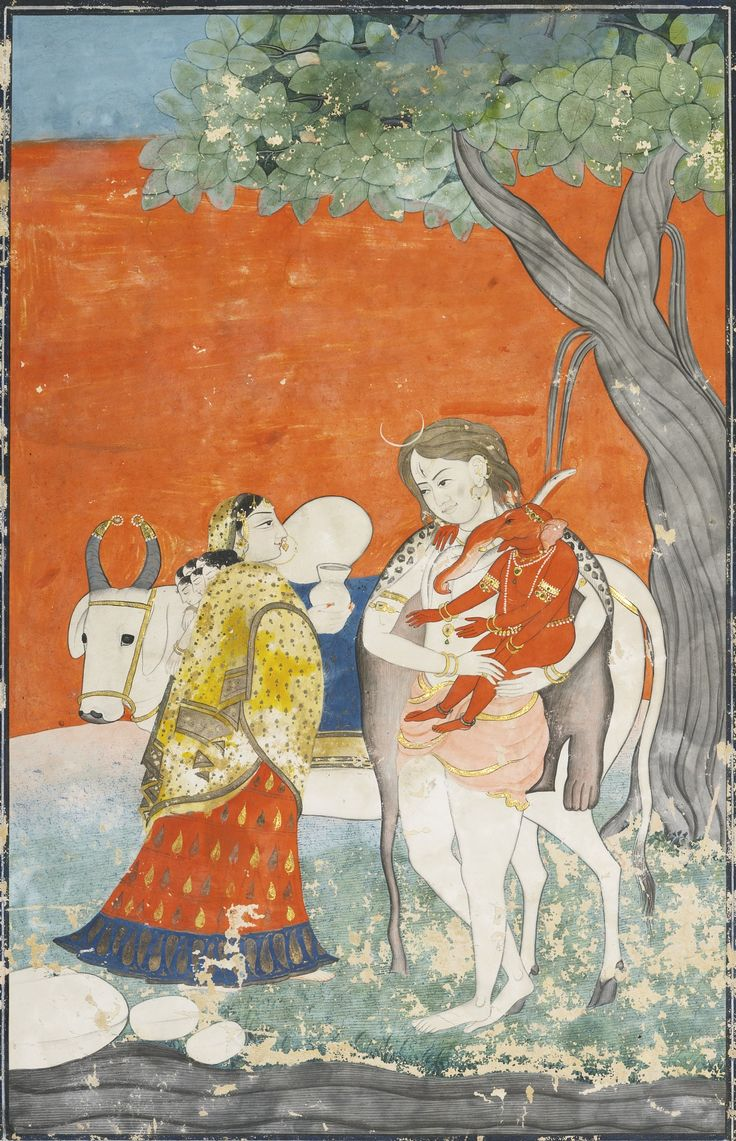 TWO ILLUSTRATIONS: THE HOLY FAMILY AND SHIVA AND PARVATI WITH GANESHA | lot | Sotheby's