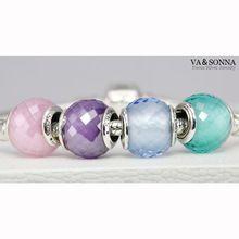 Cz rosa cuarzo facetado Charm adapta Pandora pulseras lampwork murano glass beads plata de ley 925 facetas del grano de la joyería Diy(China (Mainland))