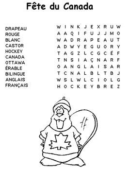 Free Kids Printable Activities: French Canada Day Word Search - Kids Coloring Pages & Word Puzzles - Kaboose.com