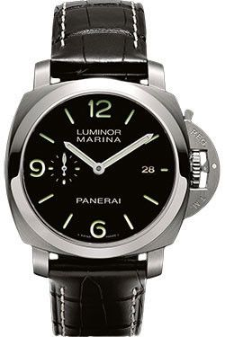 Panerai Contemporary Luminor Marina 1950 3 Days Automatic Watches. 44mm AISI 316L brushed steel case, see-through sapphire crystal back, polished bezel, brushed steel device protecting the crown, blac