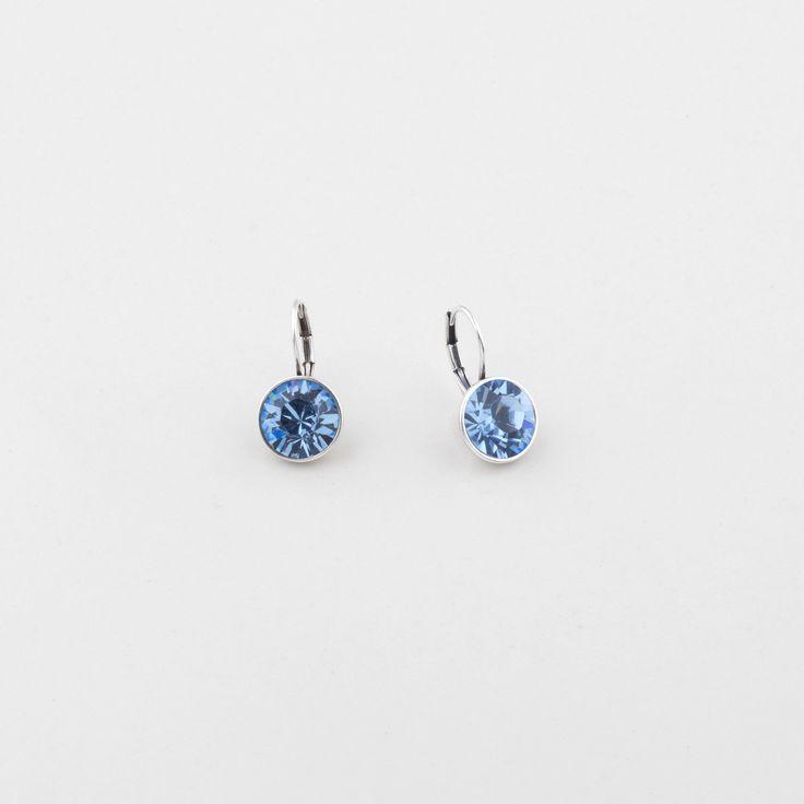 E2677 Petite Swarovski crystal drop earrings in light sapphire #miglio