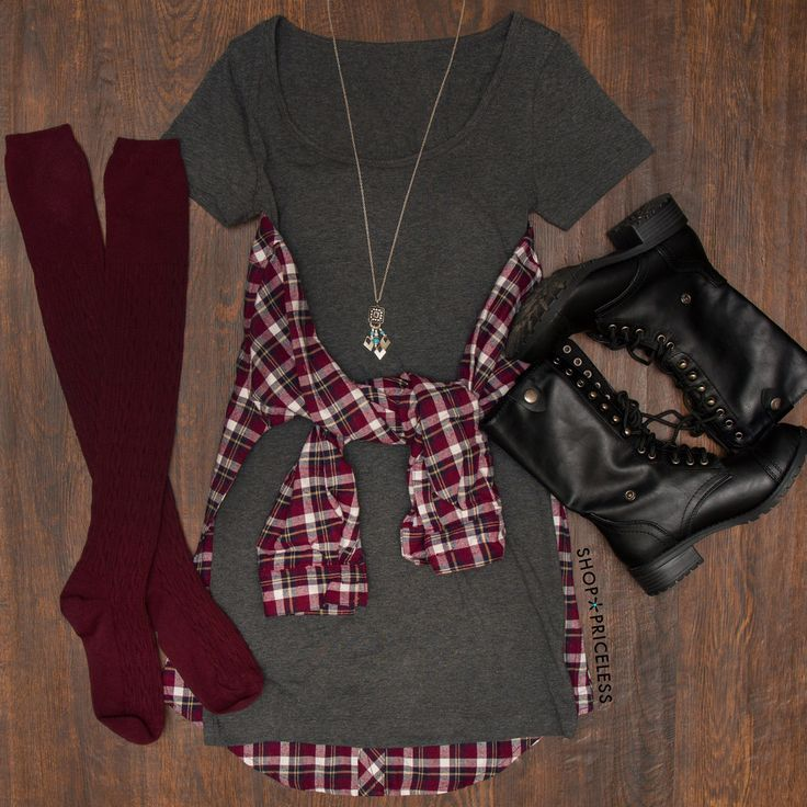I have a pair of boots exactly like these, and I'm digging the Burgundy knee-highs, the dress and plaid button up