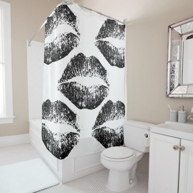 Black Glitter Lips Shower Curtain Zazzle Com With Images