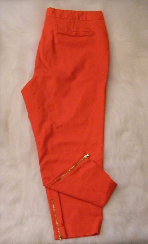 Worthington Modern Fit Capri Pants Women's Size 16 Orange Coral Gold Zipper #Worthington #CaprisCropped