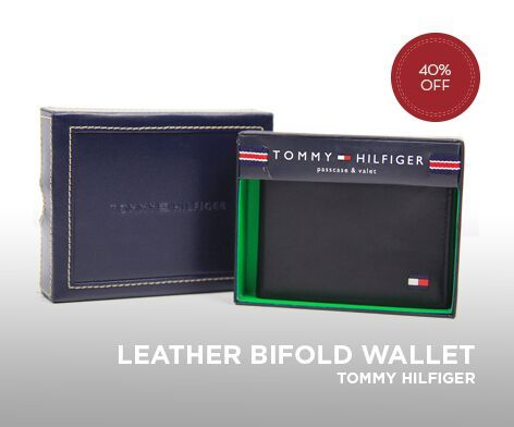 TOMMY HILFIGER MENS PASSCASE BIFOLD LEATHER WALLET