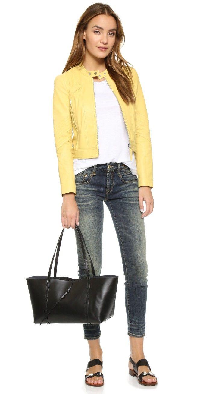 Leather jacket yellow zara - Leather Jacket