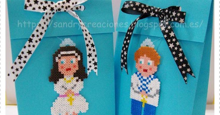 Sorprende a los invitados de una Primera Comunión con estas bolsitas de regalo decoradas con hama beads.