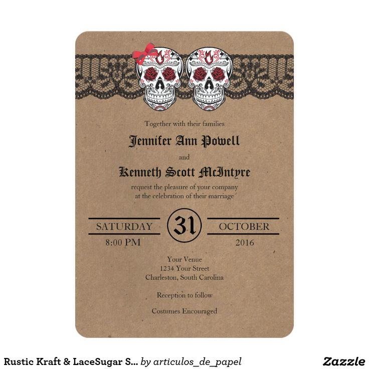 wedding invitation wording vegetarian option%0A Rustic Kraft  u     LaceSugar Skull Wedding Invitations