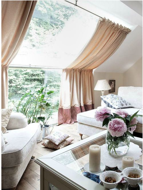 .: House Tours, Flames, Window Curtains, Living Rooms, Attic Spaces, Interiors Design, Cozy Home, Curtains Ideas, Window Treatments