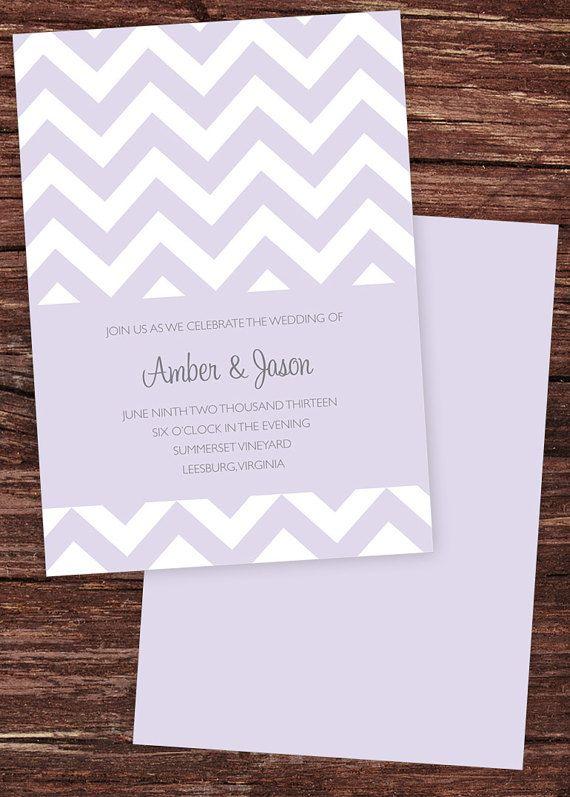 Orchid Chevron Printable Wedding Invitation with RSVP