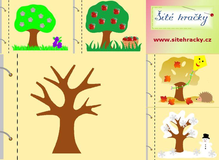 Napevno našitý kmen stromu. Odnímací koruny jednotlivých ročních období. Přidávání korun na kmen lze udělat buď na suchý zip, nebo na magnet či patentek. Pro složitější verzi je možno udělat i odnímací malé části korun stromu: květy, jablíčka, lístky, sněhové vločky. Případně i další aplikace: fialky či jiné květiny, košík na sbírání jablíček, ježka, sněhuláka. Drak přišitý není, je v knize volně vložen, aby si s ním mohly děti létat :-)