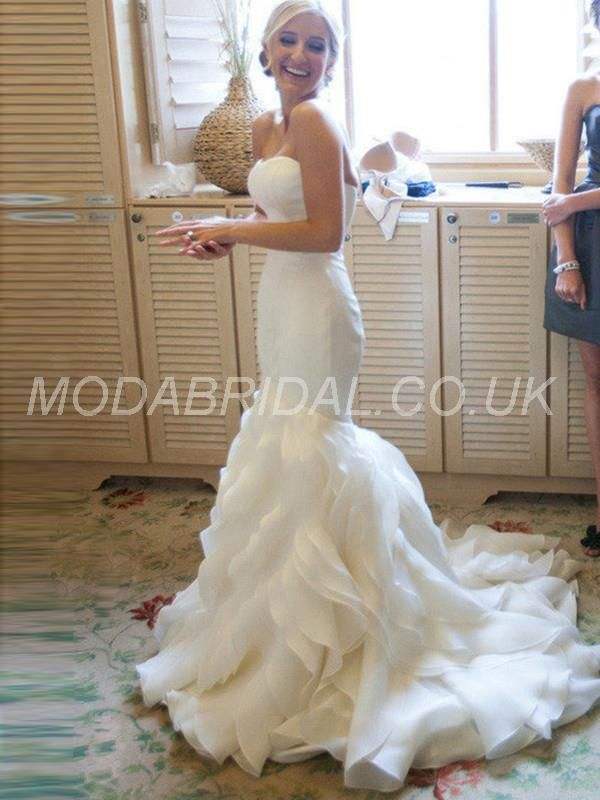 modabridal.co.uk SUPPLIES UK Style All Sizes Spring Natural Court Trumpet/Mermaid Strapless Floor-Length Wedding Dress Simple Wedding Dresses
