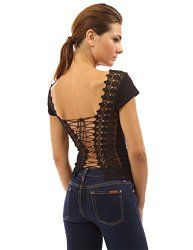 PattyBoutik Women's Embroidered Corset  Lace Up Top