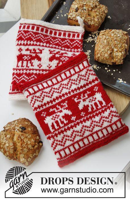 """Gebreide DROPS pannenlap voor Kerst met Noors patroon van """"Muskat"""". ~ DROPS Design"""
