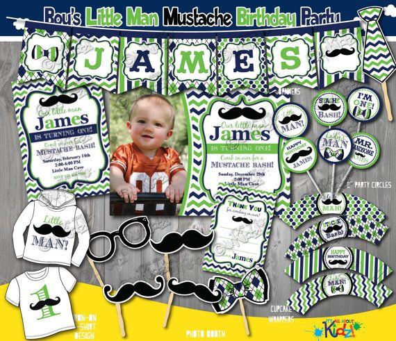 Little Man Birthday Party Package  Mustache by ItsAllAboutKidz