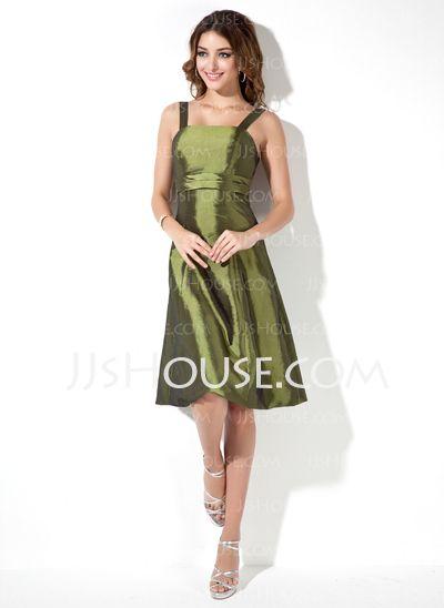 Bridesmaid Dresses - $91.99 - A-Line/Princess Square Neckline Knee-Length Taffeta Bridesmaid Dresses With Sash (007020675) http://jjshouse.com/A-Line-Princess-Square-Neckline-Knee-Length-Taffeta-Bridesmaid-Dresses-With-Sash-007020675-g20675