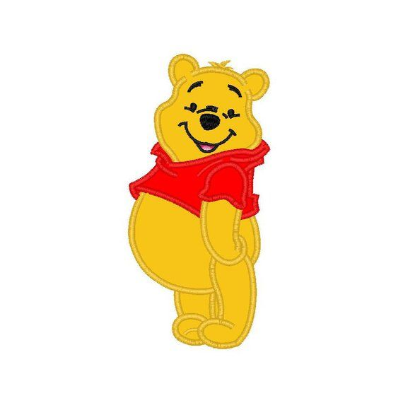 Winnie The Pooh Bear Applique Machine Embroidery Design 3 Sizes