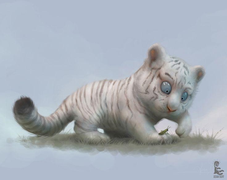 White Tiger Cub by Adam Duff